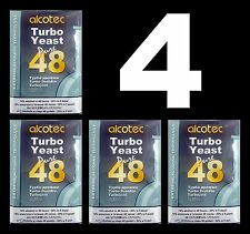 ALCOTEC TURBO YEAST 4 PACK 48 HOUR DISTILLERS YEAST 20% ALCOHOL WHISKEY STILL