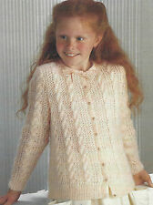 """Girls Knitting Pattern DK Cable & Lace Cardigan 26-34""""  Double Knitting 378"""