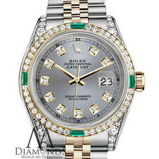 Womens Rolex Steel&Gold 31mm Datejust Watch Grey Emerald Diamond DialWith ATrack