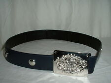 Women's St. John Black Adjustable Belt Medium w/Crested Buckle
