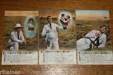 Vintage Postcard: 3 Bamforth Song Cards No.4941, Sands of the Desert Grow Cold