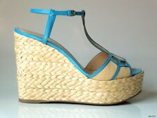 new $735 SERGIO ROSSI open-toe turquoise T-strap platforms WEDGES shoes 40 US 10