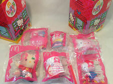 Rare Hello Kitty McDonald's 30th Anniversary Toys w/ Happy Meal Boxes, 2004, NEW