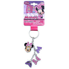 Disney Minnie Mouse Purple 4 Charm Dangle Metal Keychain Key Ring NEW