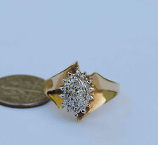 Ladies Ribbon Diamond Cluster Ring w/ 5 Genuine Diamonds - 10k Yellow Gold