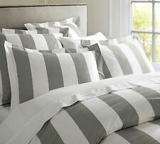Hamptons Doona Duvet King Quilt Cover Set Charcoal Grey And White 245 x 210 cm