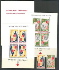 RED CROSS TRANSFUSION BLOOD DONORS HEART ON GABON 1967, Sc C54-5,C54a-5a, MNH