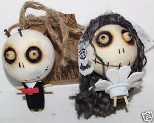 NWT Halloween Zombie Groom Bride Set Ornament Hand Crafted Wood Crazy Heads