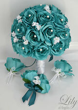 17 Piece Package Silk Flower Wedding Bridal Bouquets Bride TEAL EMERALD WHITE