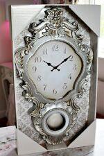 LARGE 68cm French Style Silver Wall Clock Carved Baroque Ornate Vintage Art 3D