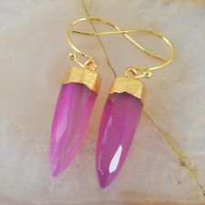 Hot Pink Agate Faceted Point Dangle Earrings Gold Plated T027741