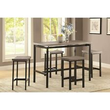 Weathered Oak 5 Piece Counter Height Dining Set Black Base by Coaster 150024