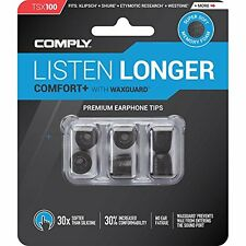 Comply TSX-100 Comfort PLUS Earphone Tips With Wax Guard Medium Black 3 pairs
