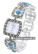 ladies vintage look turquoise crystals silver designer-style fashion watch