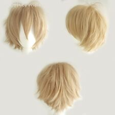 Short Anime Wig Linen Blonde Synthetic Hair Cosplay Costume Full Head Wigs Fancy