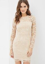 Forever 21 Love 21 Contemporary Pink Lace Sheath Dress Long Sleeve Small