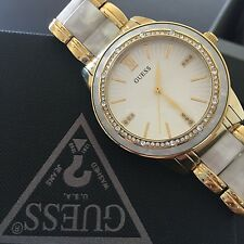 Guess First Blush Women's Gold Tone Pearlized Resin Crystal Watch U0706L3 NWT
