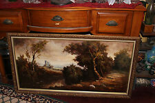 Vintage Italian Oil Painting On Canvas-Castle In Woods-Forest Water Trees-Gilded