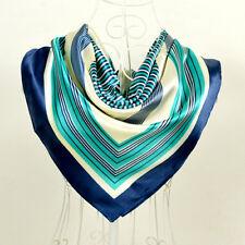 Foulard 100%  Pure Soie  Bleu Vert  - Motif  Linéaire -scarf shawl silk seide