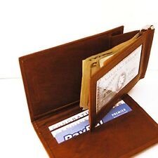 BROWN ID LEATHER MONEY CLIP Plus Bifold CARD Wallet