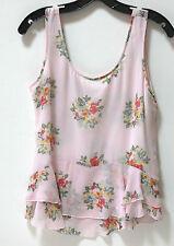 NWT Neiman Marcus Jenny Han Silk Sleeveless Pink Flower Blouse Top sz S FS
