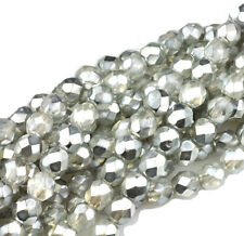 50 Silver Chrome & Crystal Metallic Fire polished Glass Beads 6MM LIMITED