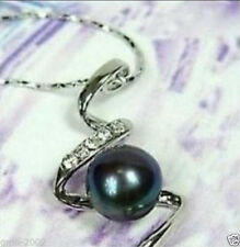 Beautiful 8-9mm Genuine Black Akoya Freshwater Pearl 18KGP Pendant Necklace AAA