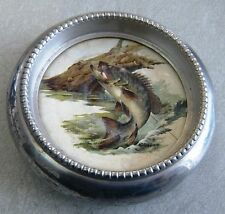 1950's VINTAGE Heavy ALUMINUM COASTER Feature LAKE FISH Under the Glass