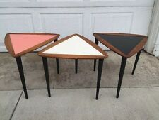 Set of 3 Mid Century Modern Danish Atomic Teak Wooden Triangle Accent Tables