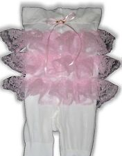 PINK Ruffle Butt Rhumba TIGHTS for Adult Baby Little Girl Sissy Dress up LEANNE