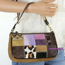 NWT Coach Holiday Patchwork Demi Bag Handbag 7071 Leopard Brown Purple NEW RARE