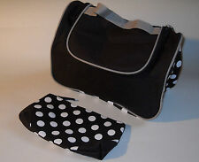Yves Rocher Dark Purple & White Polka Dot Cosmetic Bag and Pouch New