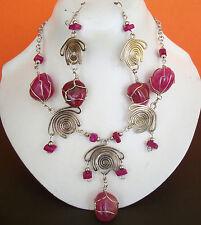 Lot 6 sets - 12 Necklace Earring ETHNIC QUARTZ AGATE STONES Alpaca silver PERU