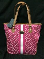 NWT Tommy Hilfiger Womens Shopper Purse/bag Iconic TH Canvas Tote Pink and Tan