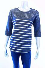 Style & Co. Deep Black Embellished Striped Sweatshirt Sz Small