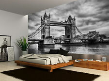 Black And White London Bridge City Wall Mural Photo Wallpaper GIANT WALL DECOR