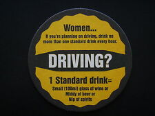 DRIVING WOMEN NO MORE THAN ONE STANDARD DRINKS MEN TWO STANDARD DRINKS COASTER