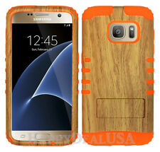 KoolKase Hybrid Silicone Cover Case for Samsung Galaxy S7 - Wood Grain Light