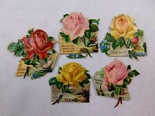 Lot of 5 Embossed Victorian Die-Cut Roses Christmas Wishes New Years CD58