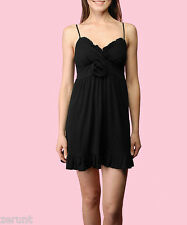NWT BETSEY JOHNSON FLOWER CORSAGE BLACK JERSEY RUFFLE BABYDOLL DRESS M 6 8