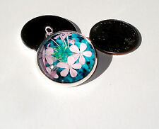 Orchid Pink Flowers Glass Dome Button handcrafted collectible shank sew or pin
