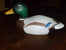 Carved & Painted Decoritive Wooden Duck, Glass Eyes, unsigned