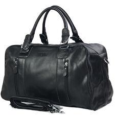 Sacs en cuir de vache Hommes Messenger Bag Black bagages de voyage Gym Duffel