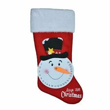 """New ! 20"""" Long Countdown Snowman Appliqued Christmas Stocking"""