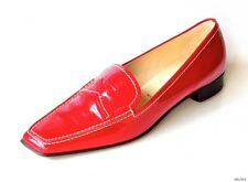 NIB PRADA red patent leather LOGO flats loafers shoes 39 fits US 9 - very comfy