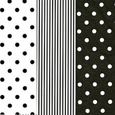 18 SHEETS~BLACK/WHITE TISSUE PAPER~GIFT WRAP-CRAFT~6 SHEETS Ea~20x30""