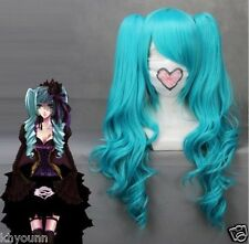 VOCALOID-Hatsune Miku Blue Anime Cosplay 65cm Long Wavy Wig + 2 Clip On Ponytail