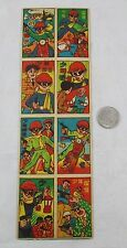 Vintage Japanese Cartoon Masked Bandit Menko Game 8 Card Anime Comic Uncut Sheet