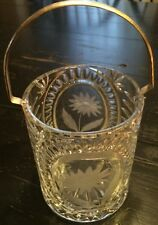 Vintage Lead Crystal Ice Bucket ,brass Handle With  Frost/acid  Etched  Flowers