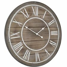 Libra Hemsby Bleach Wooden Geometric Wall Clock Roman Numerals Grey 80cm